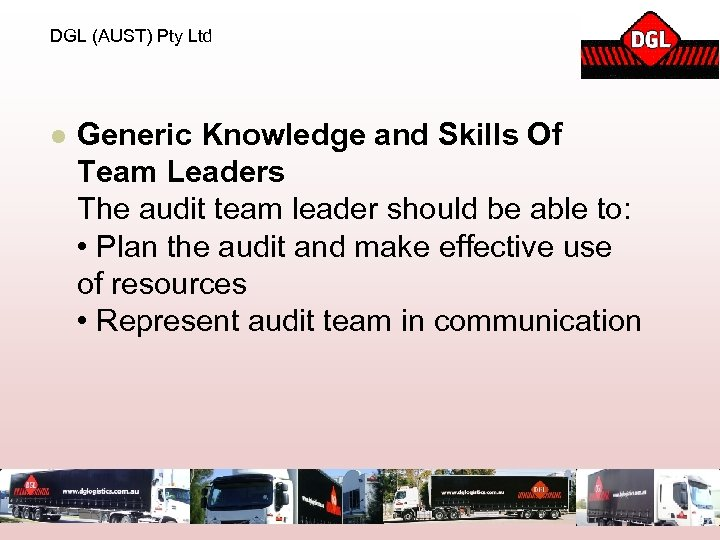 DGL (AUST) Pty Ltd l Generic Knowledge and Skills Of Team Leaders The audit