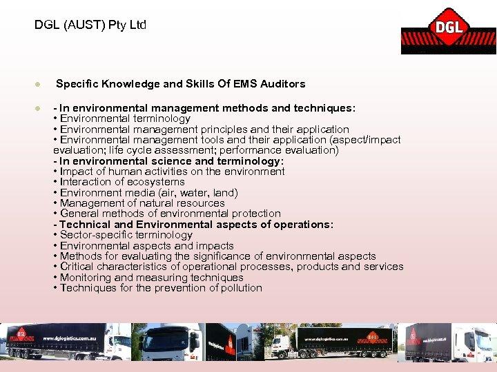 DGL (AUST) Pty Ltd l Specific Knowledge and Skills Of EMS Auditors l -