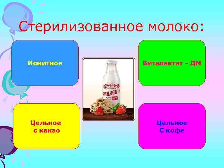 Стерилизованное молоко: Ионитное Виталактат - ДМ Цельное с какао Цельное С кофе