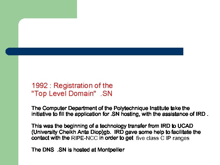 1992 : Registration of the