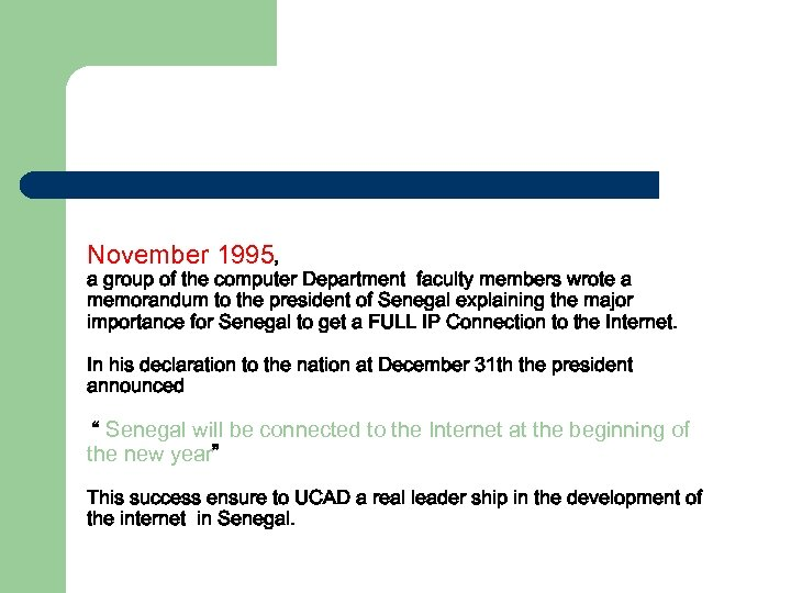 November 1995, a group of the computer Department faculty members wrote a memorandum to