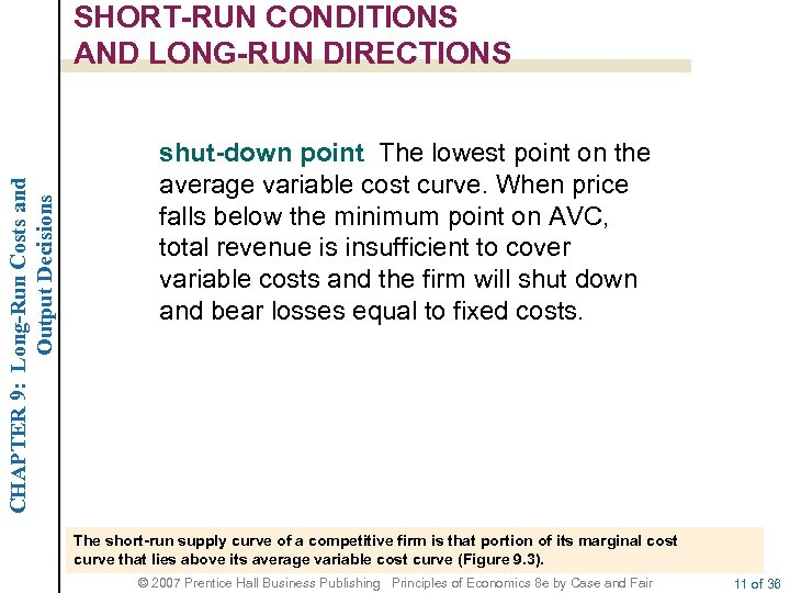 CHAPTER 9: Long-Run Costs and Output Decisions SHORT-RUN CONDITIONS AND LONG-RUN DIRECTIONS shut-down point