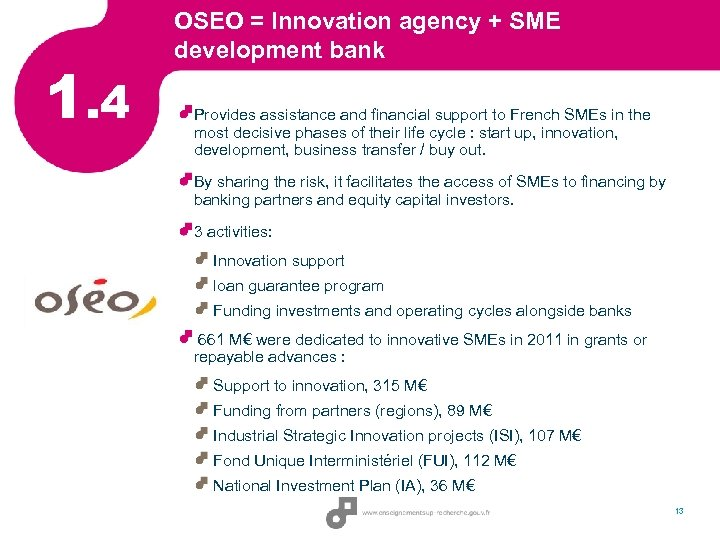 1. 4 OSEO = Innovation agency + SME development bank Provides assistance and financial