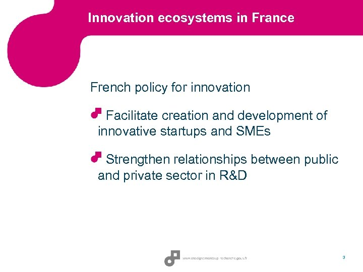 Innovation ecosystems in France French policy for innovation Facilitate creation and development of innovative
