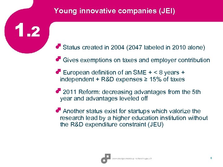 Young innovative companies (JEI) 1. 2 Status created in 2004 (2047 labeled in 2010