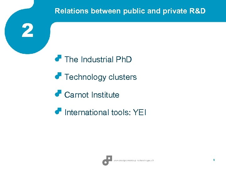 Relations between public and private R&D 2 The Industrial Ph. D Technology clusters Carnot