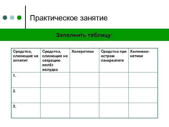 Практическое занятие Заполнить таблицу: Средства, влияющие на аппетит 1. 2. 3. Средства, влияющие на