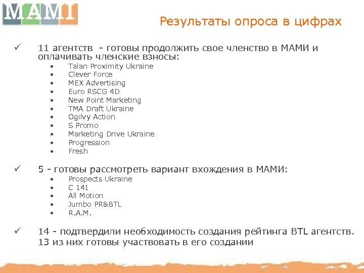 Результаты опроса в цифрах ü 11 агентств - готовы продолжить свое членство в МАМИ