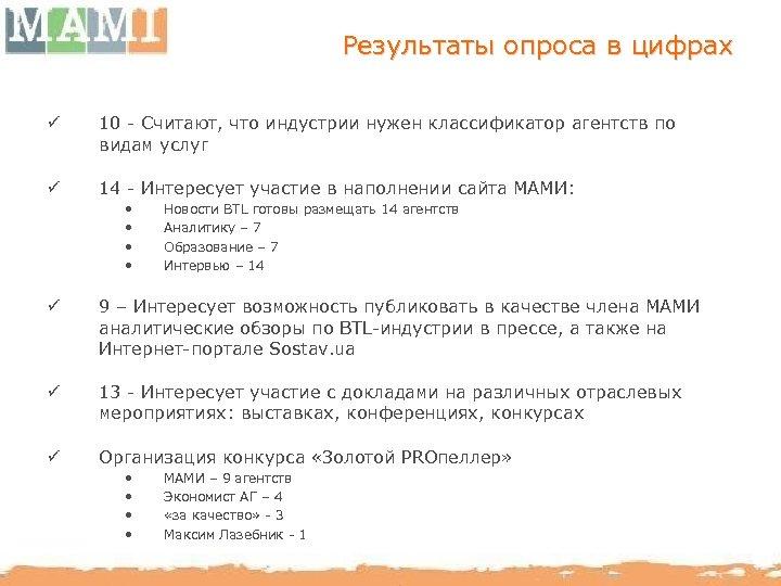 Результаты опроса в цифрах ü 10 - Считают, что индустрии нужен классификатор агентств по