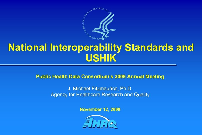 National Interoperability Standards and USHIK Public Health Data Consortium's 2009 Annual Meeting J. Michael