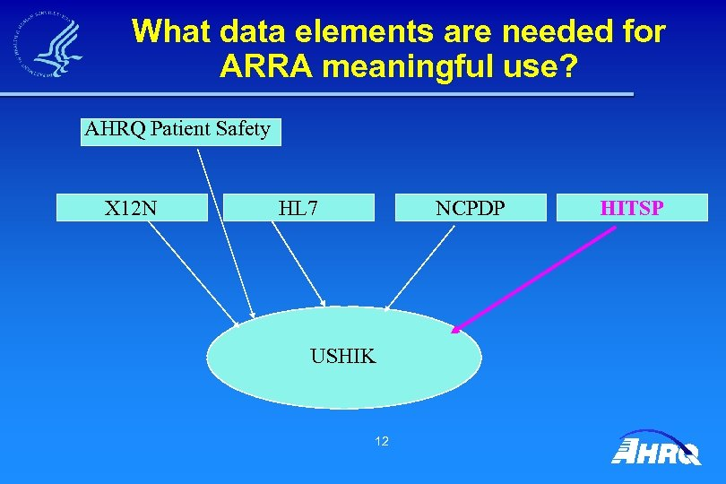 What data elements are needed for ARRA meaningful use? AHRQ Patient Safety X 12