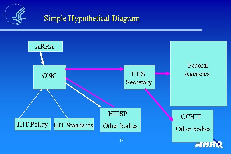 Simple Hypothetical Diagram ARRA HHS Secretary ONC HITSP HIT Policy HIT Standards Other bodies