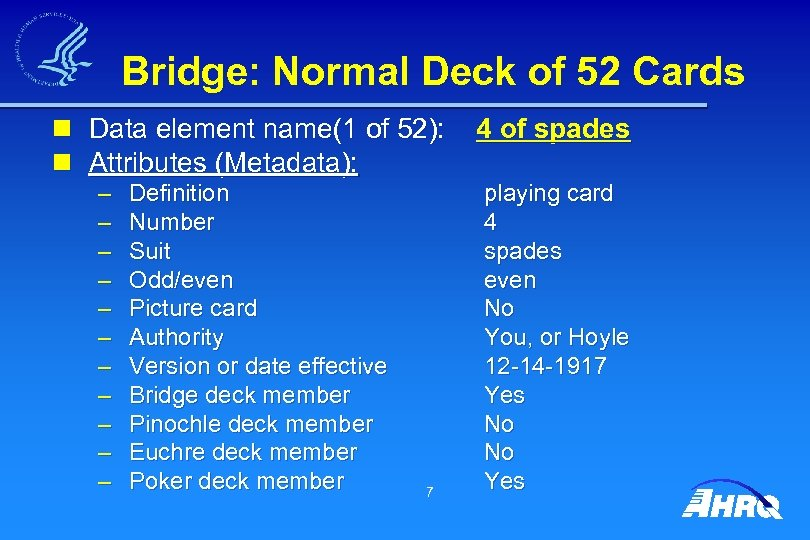 Bridge: Normal Deck of 52 Cards n Data element name(1 of 52): 4 of