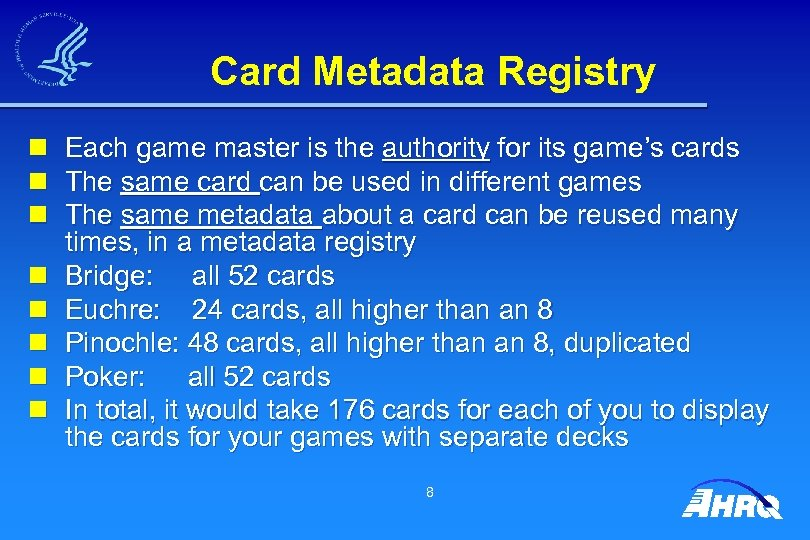 Card Metadata Registry n n n n Each game master is the authority for