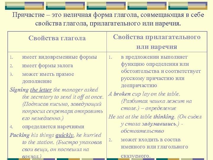 Причастие – это неличная форма глагола, совмещающая в себе свойства глагола, прилагательного или наречия.