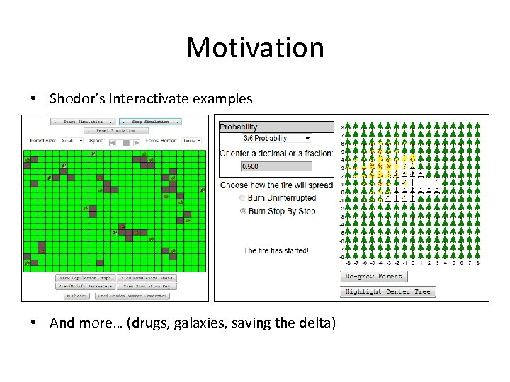 Motivation • Shodor's Interactivate examples • And more… (drugs, galaxies, saving the delta)
