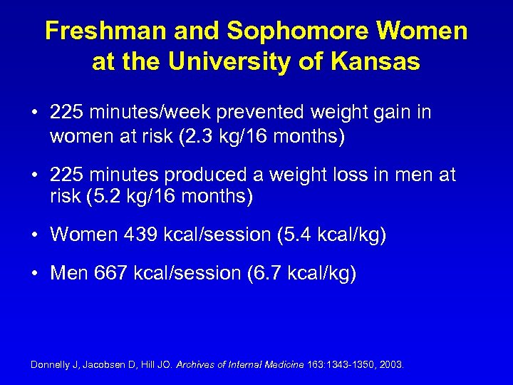 Freshman and Sophomore Women at the University of Kansas • 225 minutes/week prevented weight