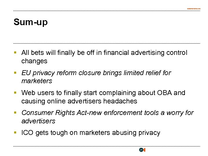 osborneclarke. com Sum-up § All bets will finally be off in financial advertising control