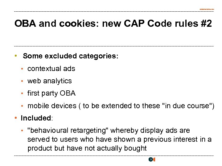 osborneclarke. com OBA and cookies: new CAP Code rules #2 • Some excluded categories: