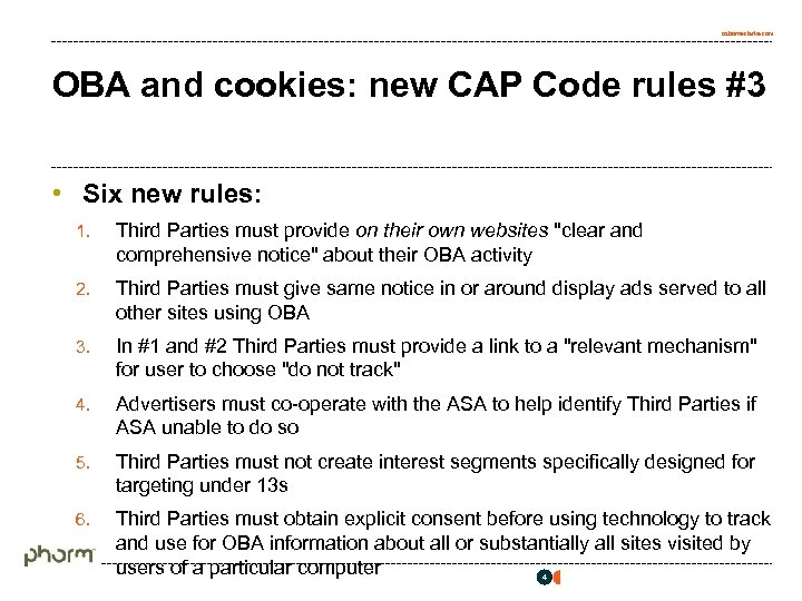 osborneclarke. com OBA and cookies: new CAP Code rules #3 • Six new rules: