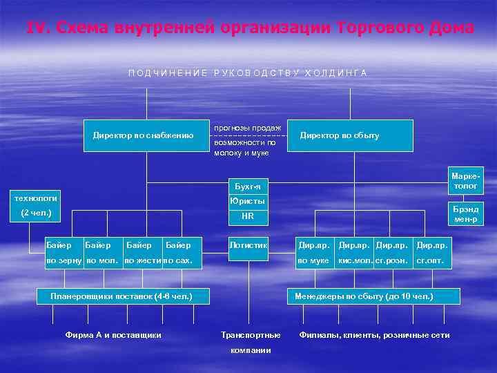 IV. Схема внутренней организации Торгового Дома ПОДЧИНЕНИЕ РУКОВОДСТВУ ХОЛДИНГА Директор по снабжению прогнозы продаж