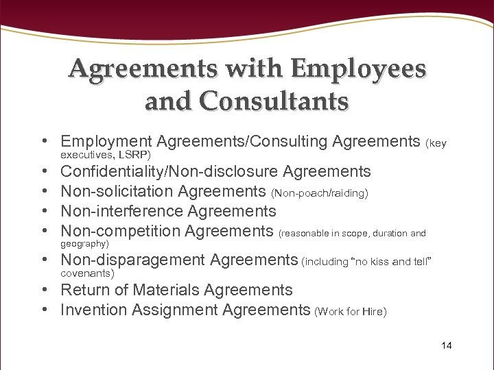 Agreements with Employees and Consultants • Employment Agreements/Consulting Agreements (key executives, LSRP) • •