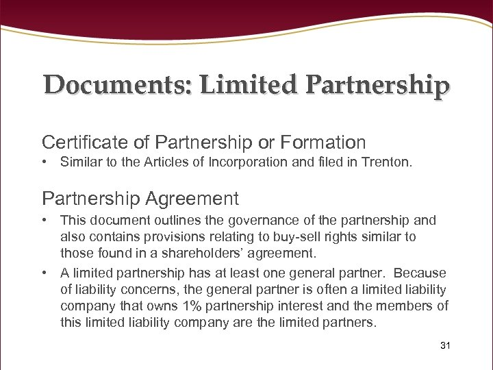 Documents: Limited Partnership Certificate of Partnership or Formation • Similar to the Articles of