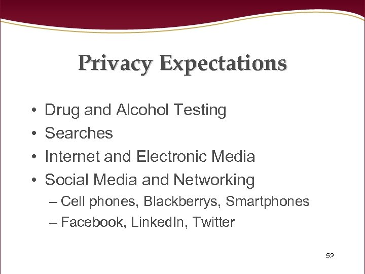 Privacy Expectations • • Drug and Alcohol Testing Searches Internet and Electronic Media Social
