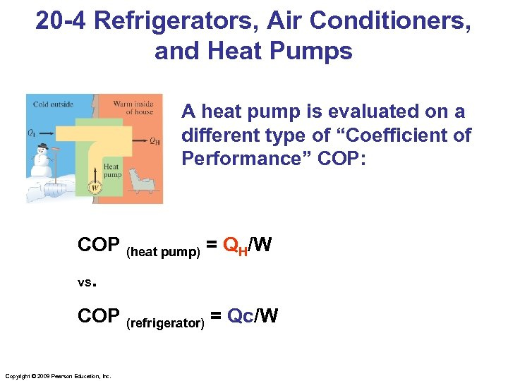 20 -4 Refrigerators, Air Conditioners, and Heat Pumps A heat pump is evaluated on