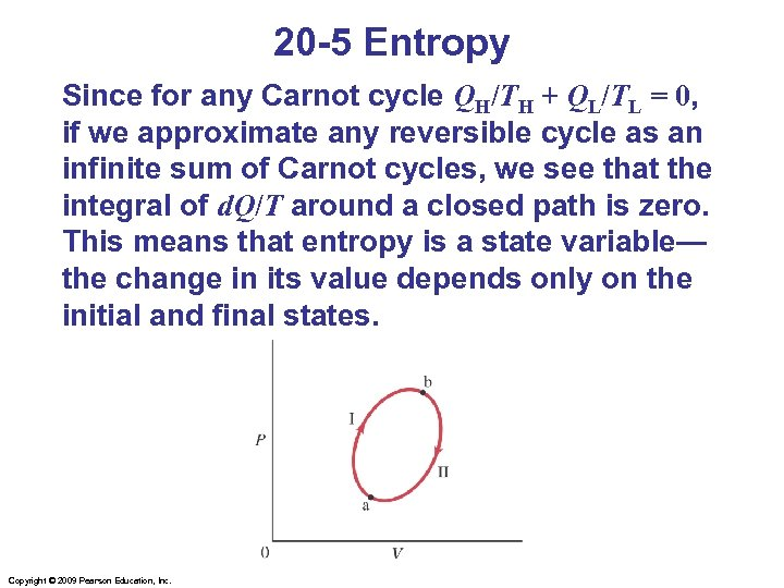 20 -5 Entropy Since for any Carnot cycle QH/TH + QL/TL = 0, if