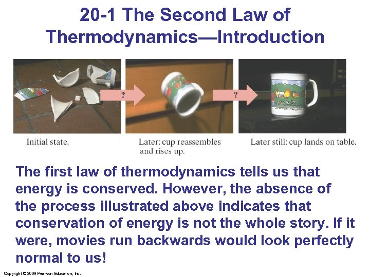 20 -1 The Second Law of Thermodynamics—Introduction The first law of thermodynamics tells us