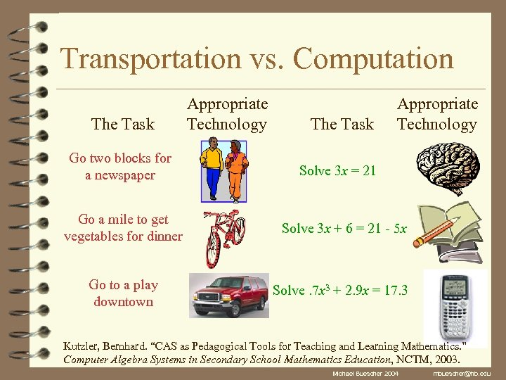 Transportation vs. Computation The Task Go two blocks for a newspaper Appropriate Technology The