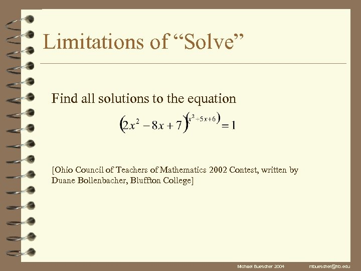 """Limitations of """"Solve"""" Find all solutions to the equation [Ohio Council of Teachers of"""