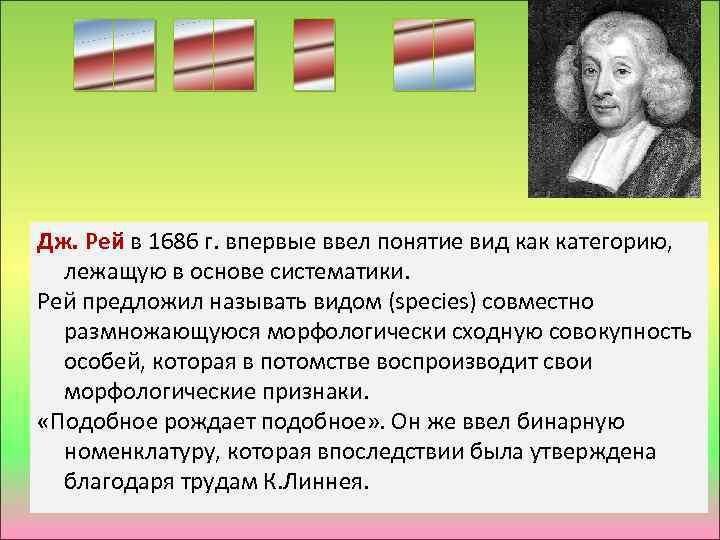 Дж. Рей в 1686 г. впервые ввел понятие вид как категорию, лежащую в основе