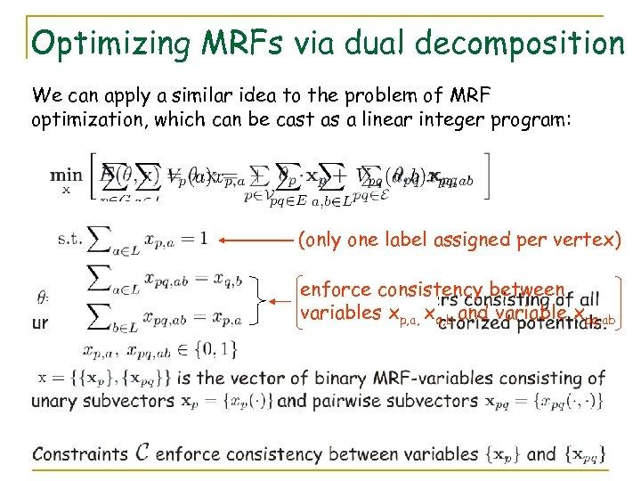 Optimizing MRFs via dual decomposition We can apply a similar idea to the problem