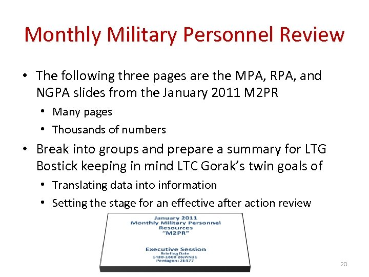 Monthly Military Personnel Review • The following three pages are the MPA, RPA, and