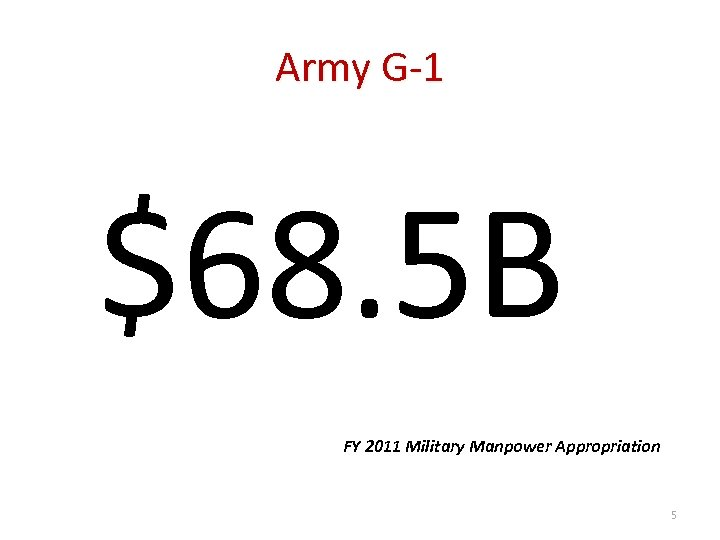 Army G-1 $68. 5 B FY 2011 Military Manpower Appropriation 5