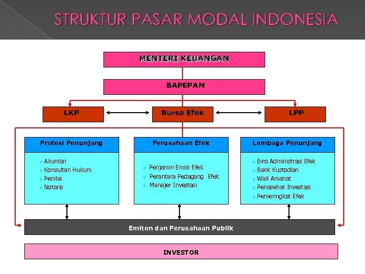 STRUKTUR PASAR MODAL INDONESIA MENTERI KEUANGAN BAPEPAM LKP Bursa Efek Profesi Penunjang Perusahaan Efek