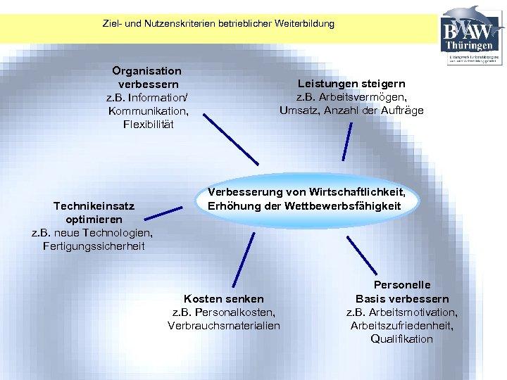 Ziel- und Nutzenskriterien betrieblicher Weiterbildung Organisation verbessern z. B. Information/ Kommunikation, Flexibilität Technikeinsatz optimieren