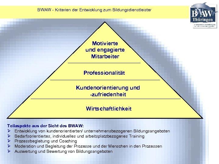 BWAW - Kriterien der Entwicklung zum Bildungsdienstleister Motivierte und engagierte Mitarbeiter Professionalität Kundenorientierung und