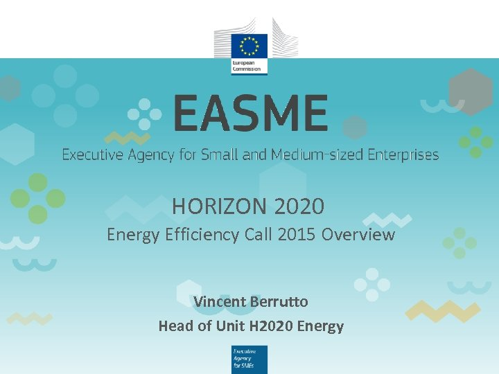 HORIZON 2020 Energy Efficiency Call 2015 Overview Vincent Berrutto Head of Unit H 2020