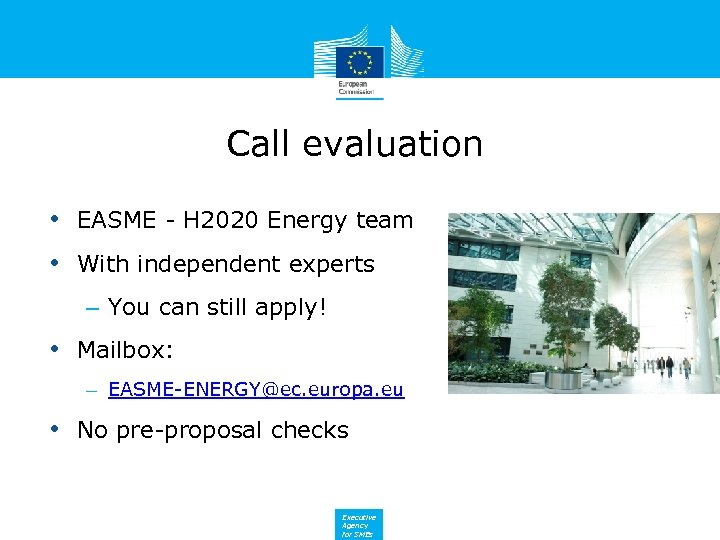 Call evaluation • EASME - H 2020 Energy team • With independent experts –
