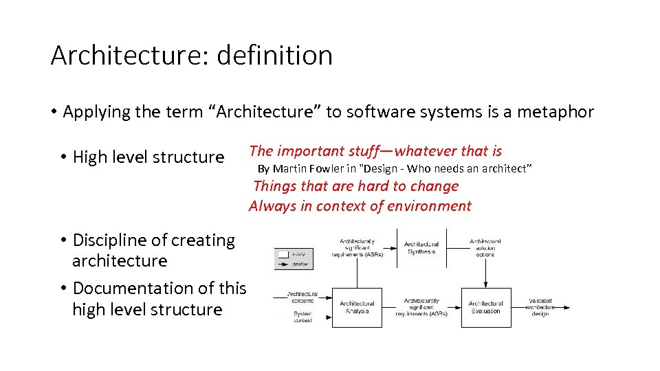 """Architecture: definition • Applying the term """"Architecture"""" to software systems is a metaphor •"""