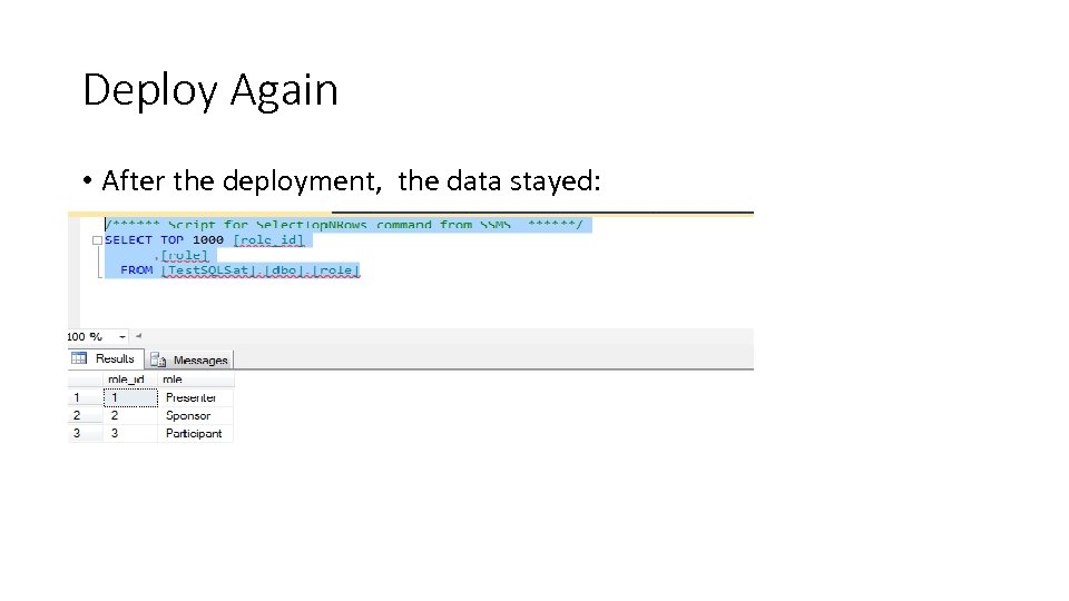 Deploy Again • After the deployment, the data stayed: