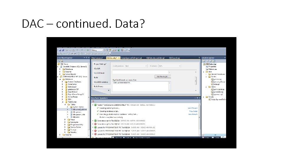 DAC – continued. Data?