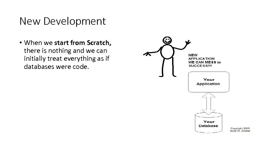 New Development • When we start from Scratch, there is nothing and we can