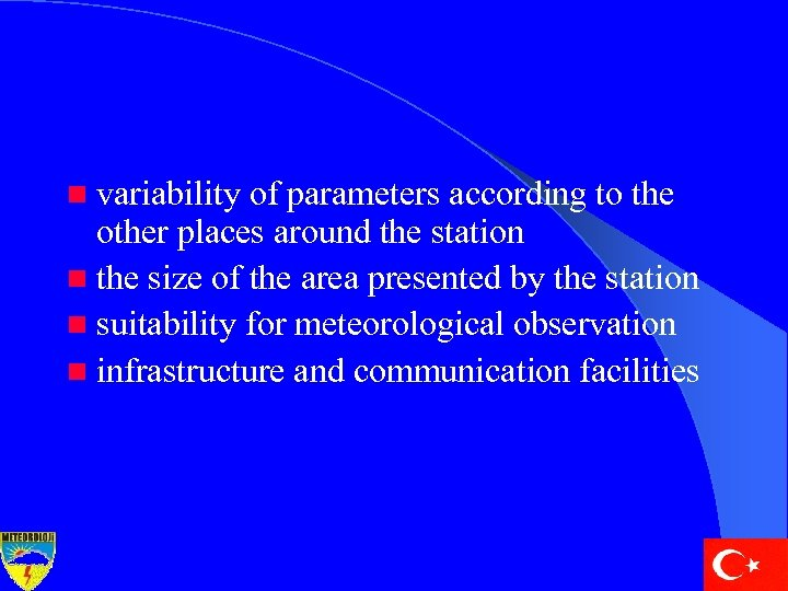 n variability of parameters according to the other places around the station n the