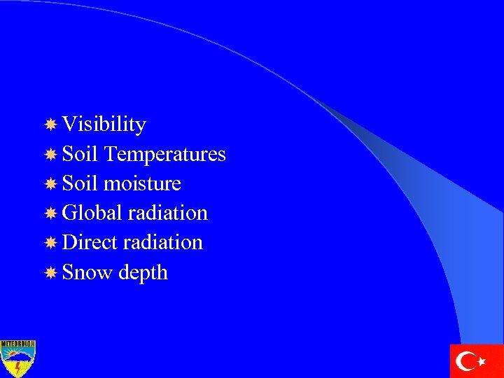 Visibility Soil Temperatures Soil moisture Global radiation Direct radiation Snow depth