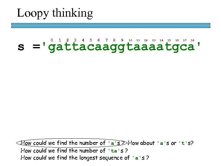 Loopy thinking 0 1 2 3 4 5 6 7 8 9 10 11