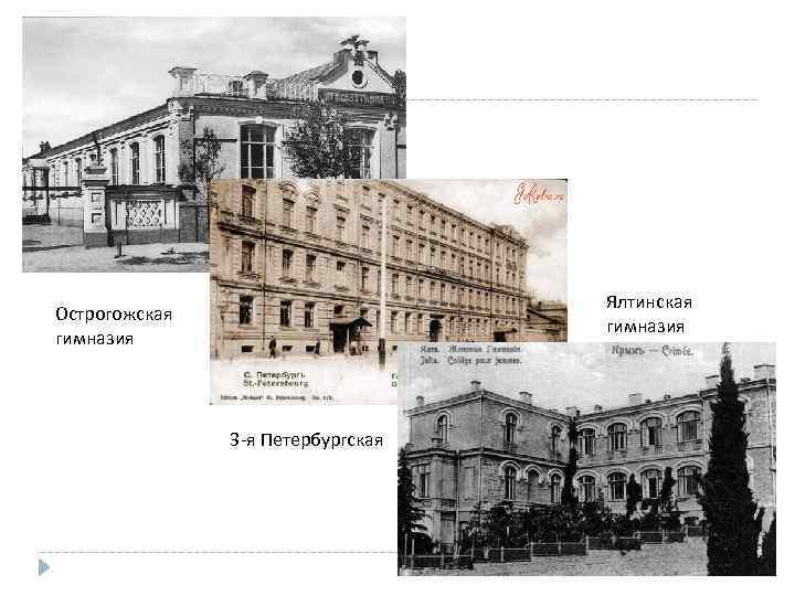 Ялтинская гимназия Острогожская гимназия 3 -я Петербургская